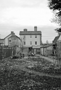 The back of the Challis House, newly replastered and with sindowns replaced in November 2011